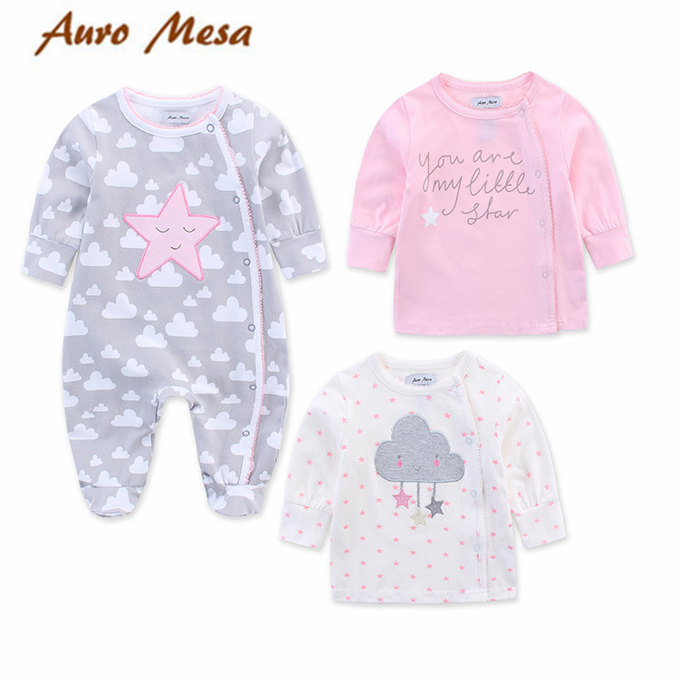 Auro Mesa Newborn Casual Baby Girl Clothes Set Long Sleeve Romper Footies With 2pcs Shirt Baby Outfit 2017 floral baby romper newborn baby girl clothes ruffles sleeve bodysuit headband 2pcs outfit bebek giyim sunsuit 0 24m