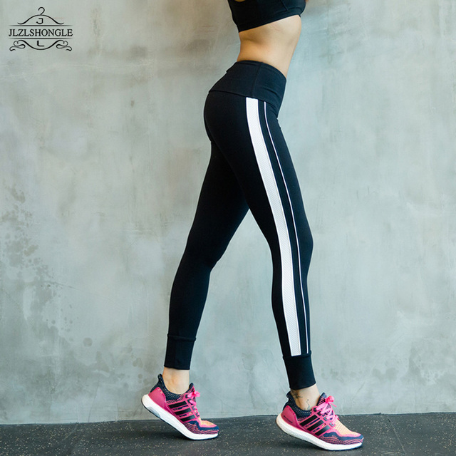 Black And White Patchwork Leggings Women Stripe Pants Legging Plus Size Sporting Fitness Styles Elastic Workout Slim Trousers