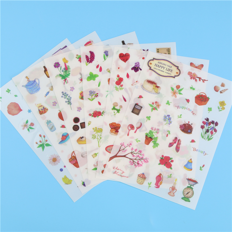 1 Pc / Pack Korean Plane Happy Life Diary Sticker Diy Stickers Album Hand Mobile Phone Stickers 6 Into