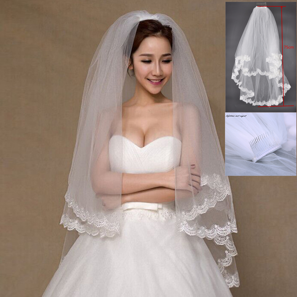 Cheap Bridal veils for Wedding Accessories Hot sale Appliques Lace Two layer Bridal veil White