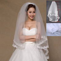 Cheap Bridal veils for Wedding Accessories Hot sale Appliques Lace Two layer Bridal veil White Ivory With Comb