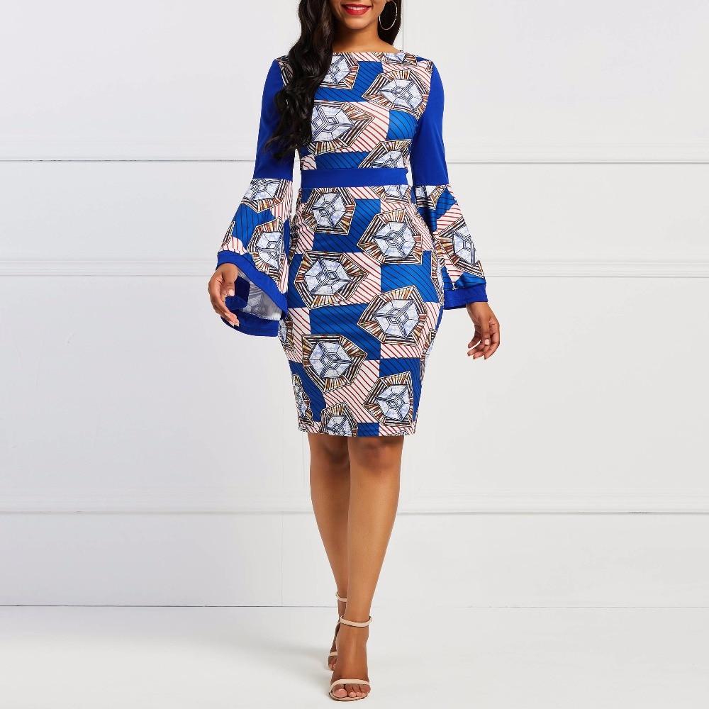 Kinikiss 2019 femmes robe à manches longues évasées bleu royal fête robe crayon automne couleur bloc géométrique élégant vintage robe