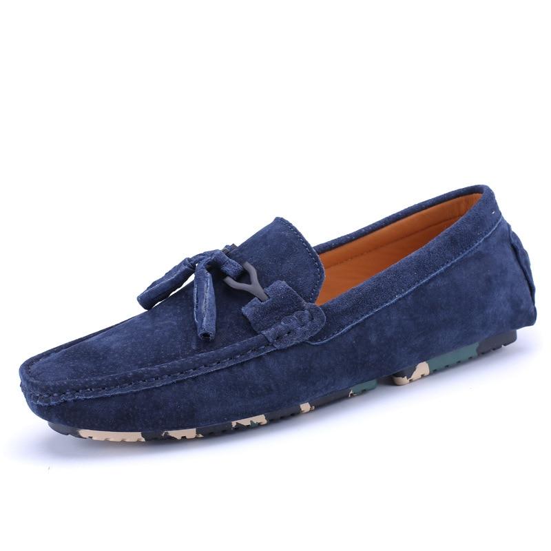 Penny On Chaussures Calzado Cuir Casual Hommes khaki Daim Hombre black En Slip Mens Mocassins Blue Bowtie Conduite grejy Robe Bateau 34Lj5AqR