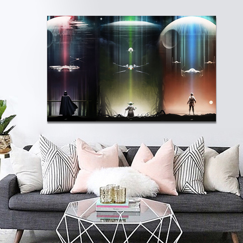 Unframed Canvas Print Oil Painting Star Wars TIE Fighter Artwork Picture Print Wall Picture For Living Room Wall Art Decoration