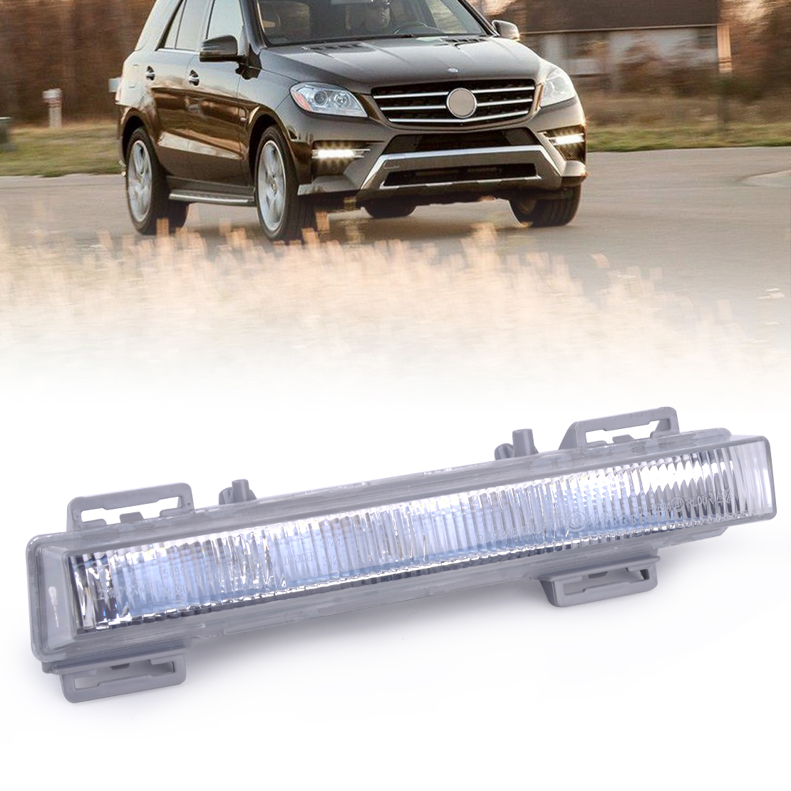 beler 1pc Front Right LED Daytime Running Light Driving Lamp Fit for Mercedes Benz W166 ML350 ML500 ML550 X204 GLK250 2049065501 front fog light for mercedes benz w163 ml270 ml230 ml320 ml400 ml350 ml500 ml430 ml55
