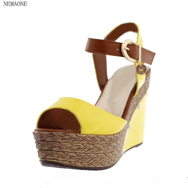size 34-39 Sexy Women Gladiator red yellow blue white Lady Shoes High Heel Wedges Summer Peep Toe Platform Woman Sandals phyanic 2017 gladiator sandals gold silver shoes woman summer platform wedges glitters creepers casual women shoes phy3323