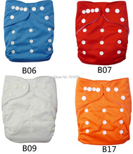 (50 pieces/lot) ALVABABY Double Row Snaps Plain Color Reusable Cloth Diaper with Microfiber Insert