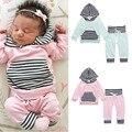 Listrado conjunto de roupas de Bebê Da Menina do Menino de manga longa Crianças Camisolas com capuz + calça Infantil bebe roupas define criança pano outerwear