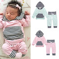 Striped Baby clothing set Boy Girl long sleeve Kids hooded Sweatshirts+pants Infantil bebe clothes sets toddler cloth outerwear