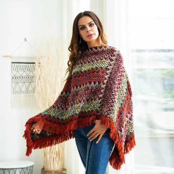 Winter loose pullover V-neck bat-style cloak large size rainbow Tassels sweater female pullover sweater women pull femme hiver 4