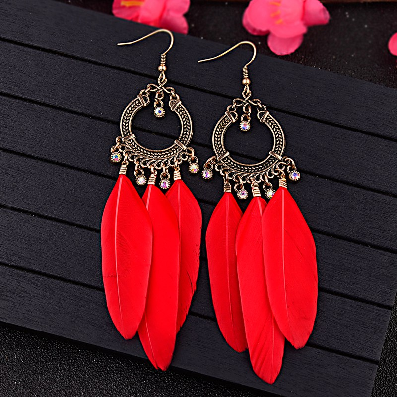 TopHanqi Dream Catcher Red Black Blue Multicolor Feather Earrings Women Inlay Crystal Metal Tassel Jewelry Accessories