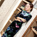 New Fashion Ladies Dress Novelty Charming Black Velour Qipao Long Cheongsam Top Prom Gown Dress Flowers Size S M L XL XXL XXXL
