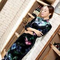 Nieuwe Mode Dames Jurk Novelty Charmant Zwart Velours Qipao Lange Cheongsam Top Prom Gown Jurk Bloemen Maat Sml XL XXL XXXL