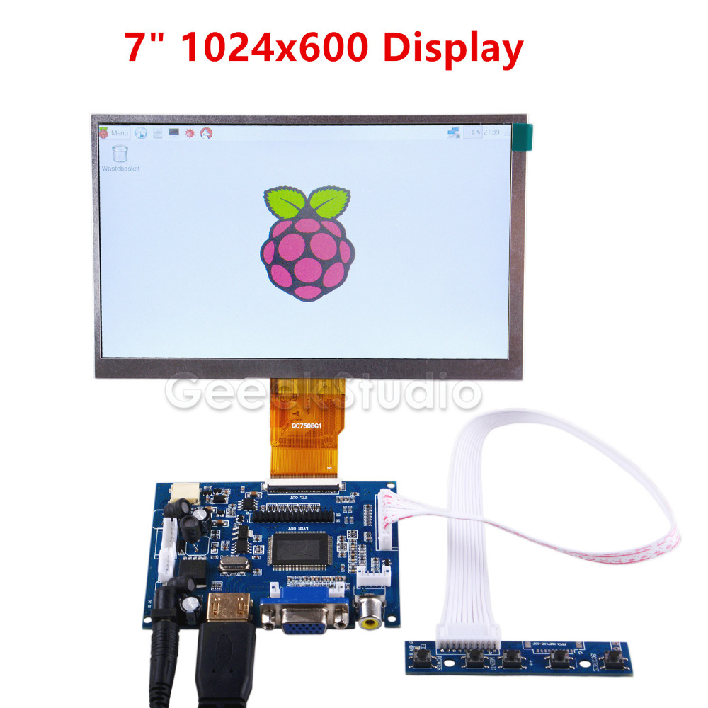 Raspberry Pi Tela 7 polegada Display LCD 1024*600 Tft com Placa do Drive para o Raspberry Pi 2/ 3 modelo B