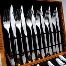 24Pcs / Set High quality Western tableware suit top grade tableware 304 stainless steel steak fork and knife to choose