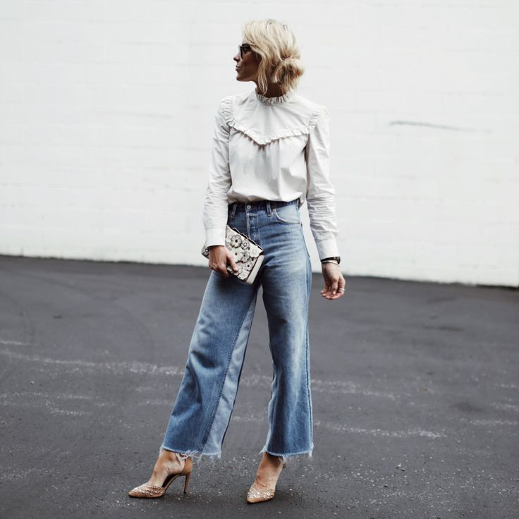 AEL Fashion High Waist Broad Leg Jeans Women s Loose Casual Patchwork Denim Pants Spring 2019