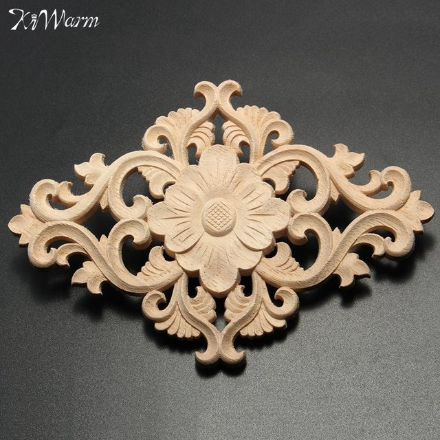Kiwarm New Vertical Fl Wood Carved Corner Woodcarving Decal Onlay Lique Sculptures Home Furniture Cabinet Decor