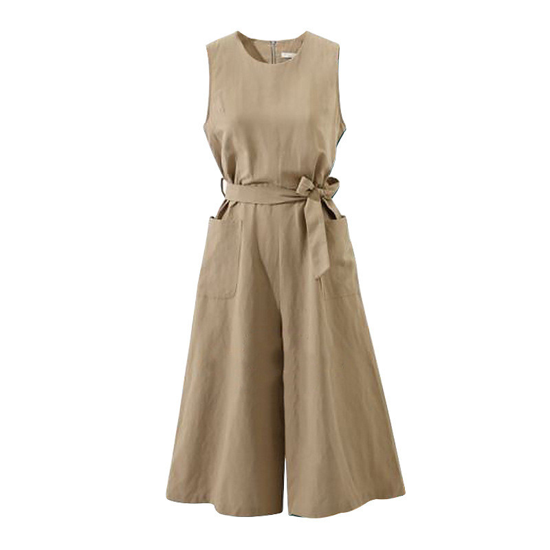 Women Elegant Wide Leg Long Jumpsuit With Belt 2018 Summer Plus Size Jumpsuits Casual Solid Rompers With Pockets 3