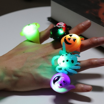 Halloween Party Finger LED Light Toy Kids Gift Lovely Glow Colored Toys Pumpkin Shantou Bat Ghost Led Glisten Ring Party Supplie image