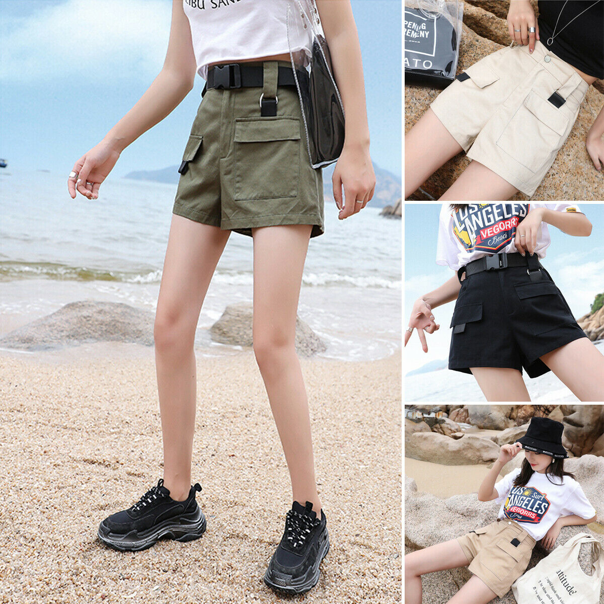 New Women Overalls Shorts Breathable Cargo High Waist Pocket Shorts Loose Trouser