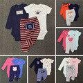 2017 Nueva Ropa de carter carter bebé menino Llegada del bebé niñas niños Juegos de Ropa Corta Larga de Algodón Monos y Pantalón