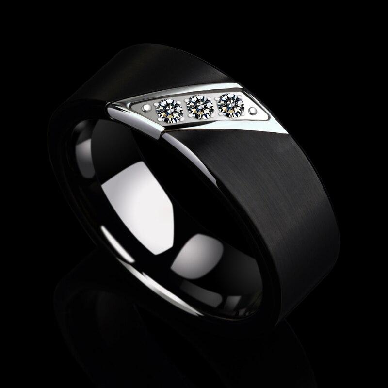 Nouveauté bagues de mariage en tungstène brossé noir 8mm pour hommes avec trois zircons cubiques Septem bagues de naissance taille 7 à 10