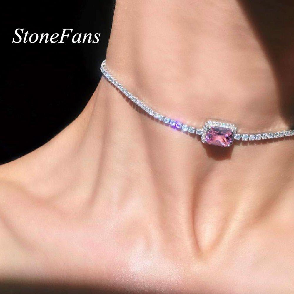 StoneFans Star Luxury Crystal Simple Choker Necklace for Women Pink Collana Kolye Bijoux Collares Mujer Gargantilha Collier Gift