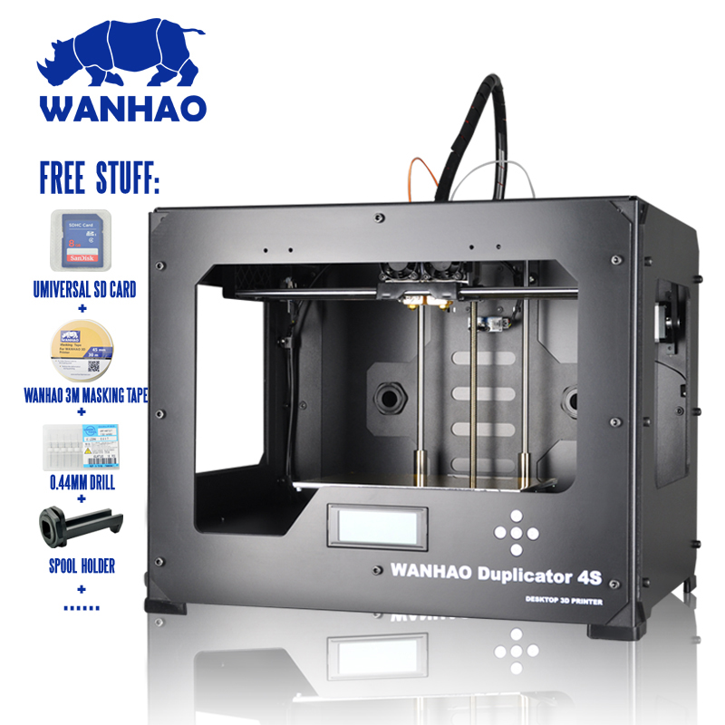 Printing Size:225*145*150mm WANHAO D4S 3D printer,Metal Frame Reprap Kit in High Precision,Mini Desktop, Industrial level original anycubic 3d pinter kit kossel pulley heat power big size 3d printing metal printer fast shipping from moscow