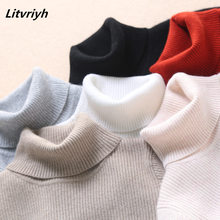 Litvriyh turtleneck lady knitted sweater women pullover long sleeve slim thick warm female jumper