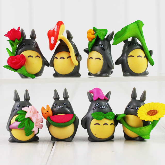 US $4 45 20% OFF|3 4cm Hot Sale 8pcs/lot My Neighbor Totoro Figure Gifts  Doll Miniature Figurines Toys PVC Japanese Cute Lovely Anime-in Action &  Toy