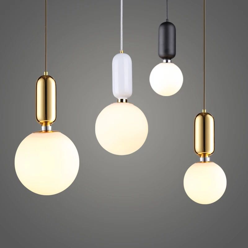 Nordic Globe Glass Ball Pendant Lights Gold/white/black Iron Hanging Lamps Led Lamp for Living Room Bedroom Restaurant Fixtures цена 2017