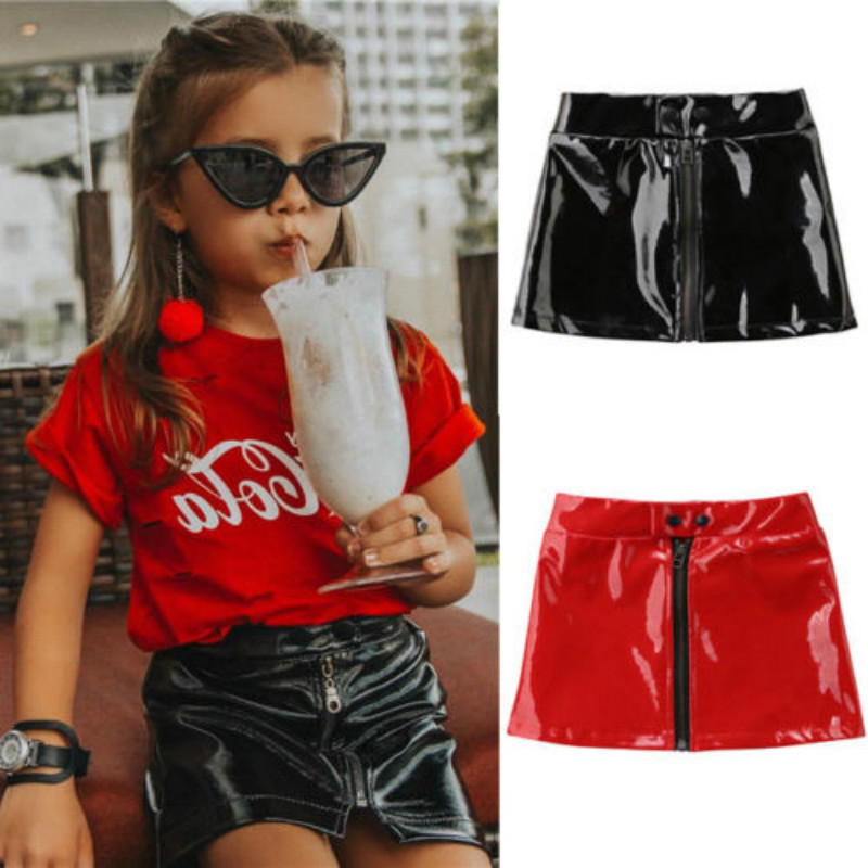 Toddler Baby Kids Girl PU Leather Skirts Summer Sequins Zipper Mini Skirts Princess Child Baby Girls Clothing Black Red 0-5Y girl