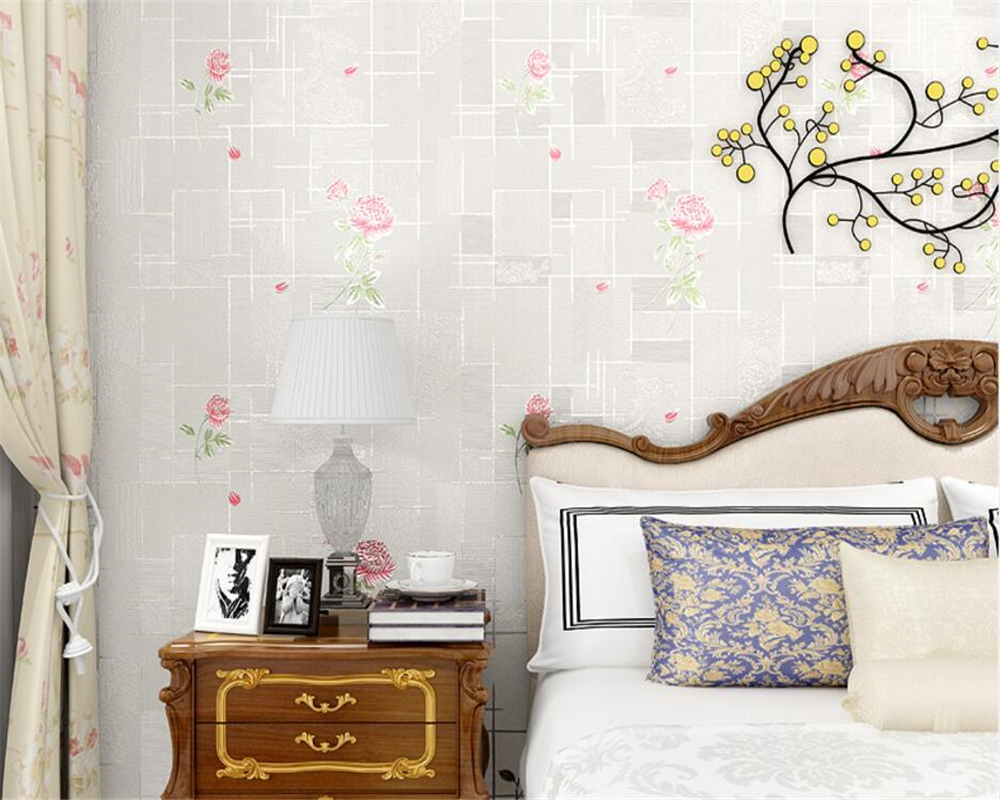 Beibehang Cozy pastoral 3D three-dimensional pressure non-woven wallpaper bedroom living room TV background walls 3d wallpaper three dimensional analysis of non planar coupled shear walls