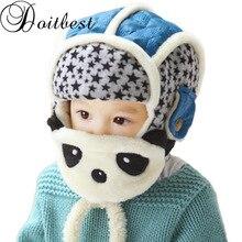 Doitbest/шапка-бомбер для маленьких мальчиков от 2 до 6 лет, Утепленные зимние шапочки с рисунком панды, детские шапки с мехом внутри, шапки-ушанки для девочек