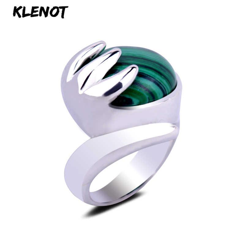 สีฟ้าธรรมชาติ Malachite โบราณเงินไทยแหวนพลอยการตั้งค่าพระพุทธรูปอวยพรของขวัญ Elegant สำหรับแหวน