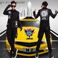 Горячий Новый певец DJ право Zhilong GD с двубортный черный отшлифовать граффити наклейки кожа комбинезон костюмы