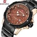 Naviforce marca top de luxo homens quartzo relógio de aço cheio relógios desportivos data dos homens relógio de pulso militar assista relogio masculino