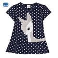 Nova criança vestidos de verão nova marca garoto vestido da menina moda cisalhamento moda bebê vestidos casuais mangas curtas das crianças roupas