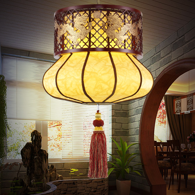 Chinese wooden chandelier classical art round wooden restaurant chandelier bedroom warm living room lamp  m new chinese style ceramic chandelier restaurant study bedroom art warm solid wood chandelier free shipping