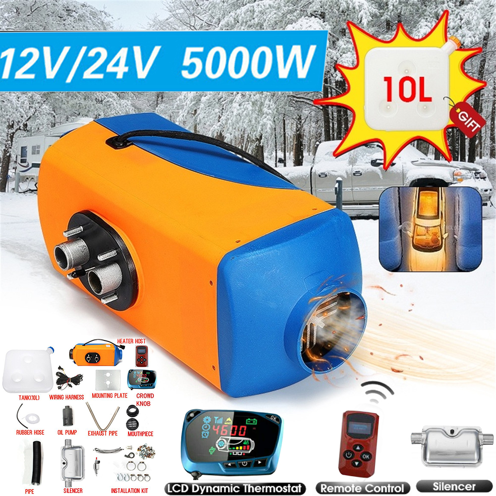 5KW Air Diesel Fuel Heater 12V 24V Car Parking Heater Electric Heating  Cooling LCD Monitor Thermostat for cars buses RVs truck