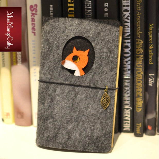 Little Fox Journal Diary Fabric Cover Cute Blank Kraft Paper Planner Travel School Animal Study Notebook Gift
