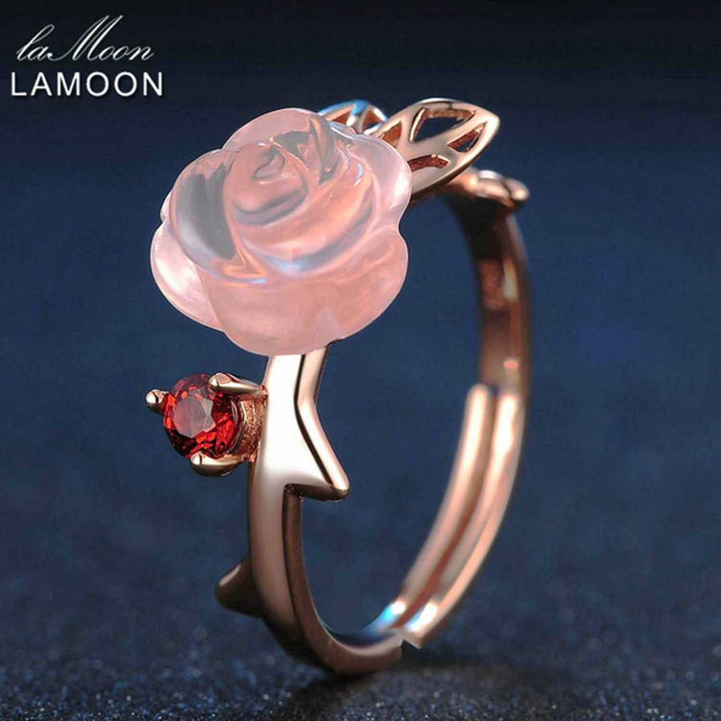 LAMOON Pink Flower Rings Natural Gemstone Rose Quartz Ring 925 Sterling Silver Fine Jewelry For Women