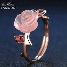 Lamoon розовый цветок Кольца природных драгоценных камней розового кварца кольцо стерлингового серебра 925 Красивые ювелирные изделия для Для женщин Регулируемый RI025