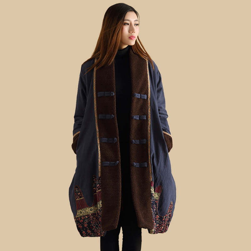 LZJN Ethnic Winter Coat 2019 Women   Parka   Chinese Style Padded Jacket Patchwork Autumn Overcoat Kaban Winterjas Dames Jaqueta