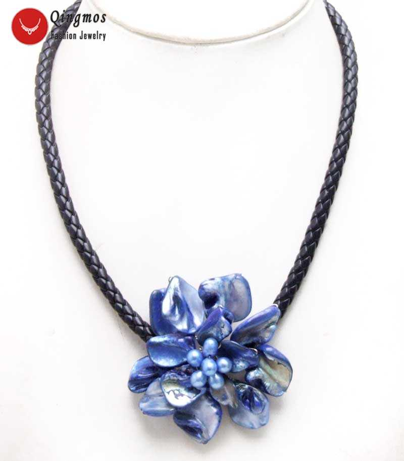 Qingmos Dark Blue Baroque Shell Flower 18'' Pendant Choker Necklace for Women with Shell Natural Pearl Black Rope Colar-6359