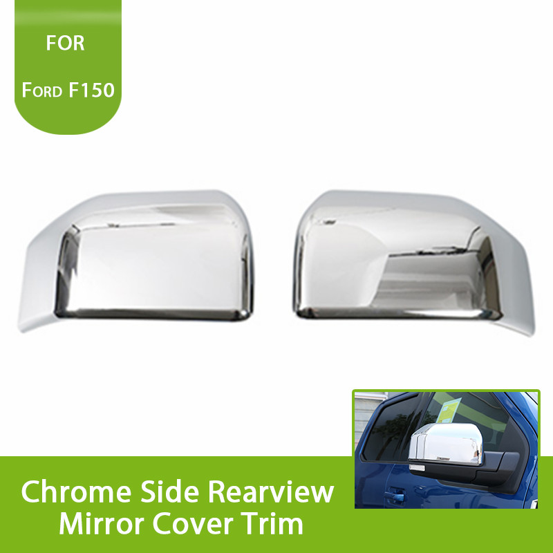 2PCS Triple Chrome Side RearView Mirror Cover Trim For Ford F150 F 150 2015 2016