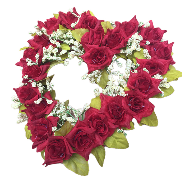 fashion romantic heart shaped artificial flower wreath decor hanging