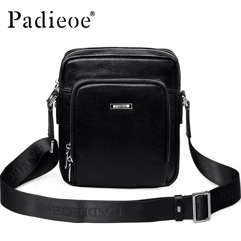 Padieoe Luxury Genuine Cow Leather Men's Messenger Bag Fashion Business Men Mini Shoulder bag High Quality Durable Small Handbag