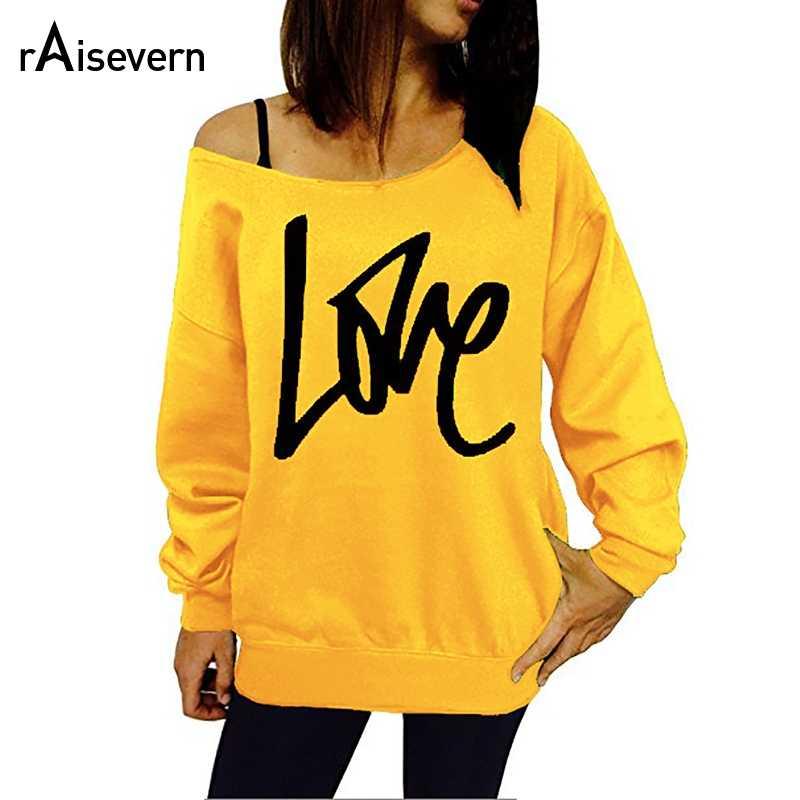 1f314caa05011c S-5XL Plus Size 2018 Sexy Off Shoulder Harajuku Sweatshirt Women Letter  Love Wibey Printed
