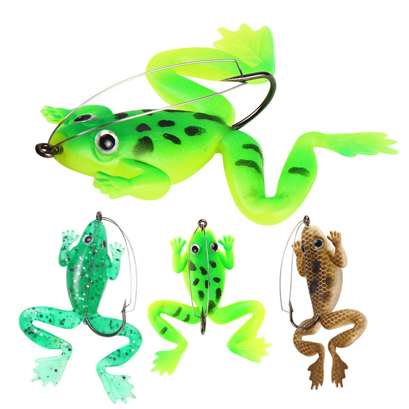 4Pcs/set 6cm 5.2g Rubber Frog Soft Bait Fishing Lures Set Sea Fishing Plastic Fish With Hook Carp Fishing Tackle